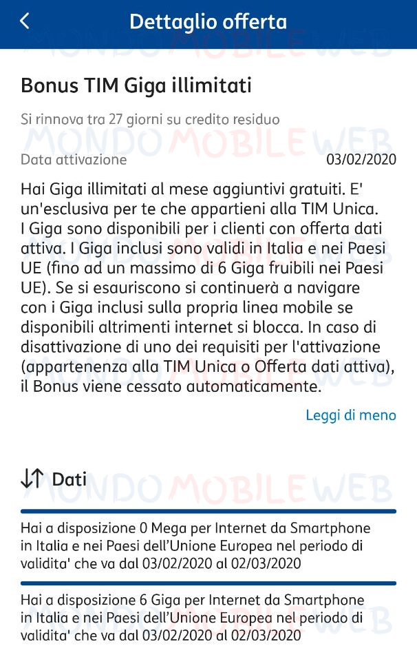 Giga illimitati incompatibilità
